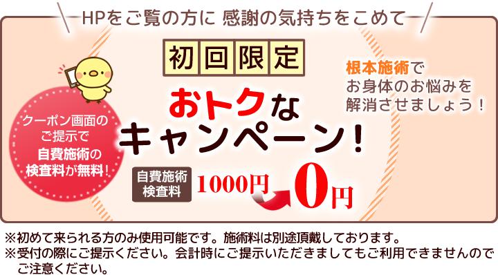 初回限定キャンペーン自費施術初診料2000円が0円に