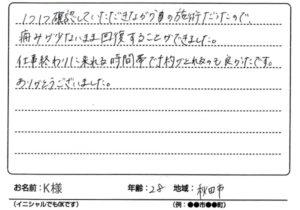 スポーツ外傷 秋田市 20代 K様